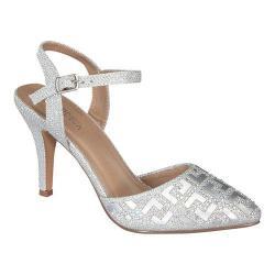 Women's Wild Diva Jayda-99-FE Ankle Strap Sandal Silver Faux Leather/Glitter