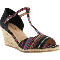 Women's Beacon Shoes June Espadrille Wedge Black Multi Fabric