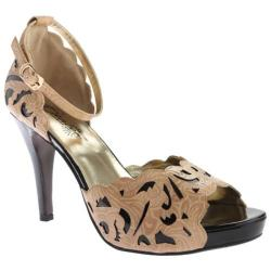 Women's Beacon Shoes Marilyn Ankle Strap Blush/Black Embossed