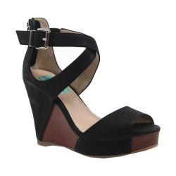 Women's Diba True Shimmy Down Wedge Sandal Black Leather