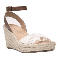 Women's Naturalizer Note 2 Ankle Strap Sandal Ivory Lace Fabric/Saddle Tan Burnished PU