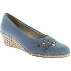 Women's Beacon Shoes Biscayne Espadrille Wedge Denim Blue Fabric