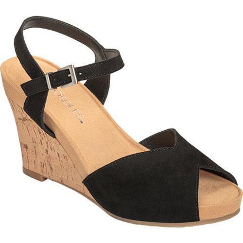 Women's Aerosoles Plush Black Sandal Wedge Bloom Suede iXZPuk