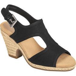 Women's Aerosoles Birdhouse Slingback Sandal Black Fabric