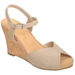 Women's Aerosoles Bloom Plush Wedge Sandal Bone Suede