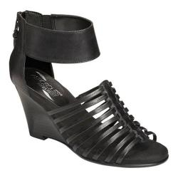 Women's Aerosoles Los Vegas Wedge Sandal Black Leather