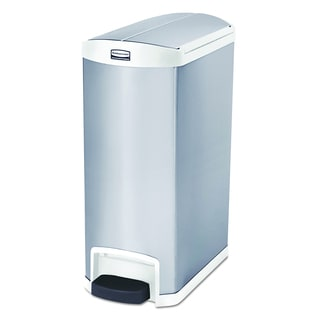 Slim Jim Stainless Steel End Step Style 13 gal White Step-On Container