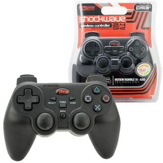 KMD Black 2.4Ghz Wireless Shock Wave controller For Sony Playstation PS 3