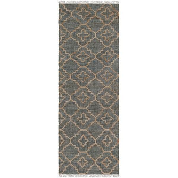 Hand-Woven Cheadle Indigo Jute Rug (2'6 x 8')
