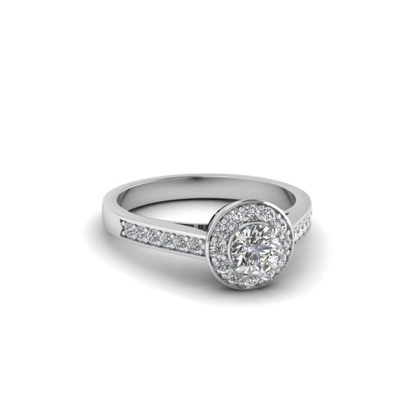 Fascinating Diamonds 14k White Gold 1/2CTtw Round-cut Pave-set Diamond Halo Finesse Engagement Ring (G-H, I1-I2, GIA)