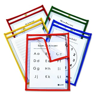 C-Line Reusable Assorted Primary Colors 9 x 12 Dry Erase Pockets