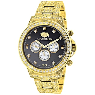 Luxurman Men's Yellow Goldplated 3ct TDW Diamond Fully Iced Out Swiss Quartz Watch