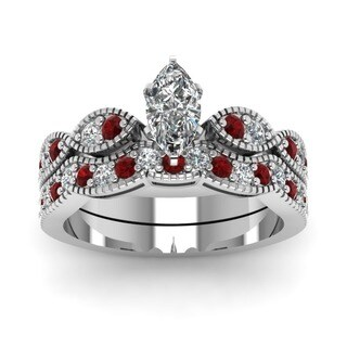 14k White Gold 3/4ct Marquise-cut Diamond and Ruby Milgrain Wedding Ring Set by Fascinating Diamonds (G-H, SI1-SI2, GIA)
