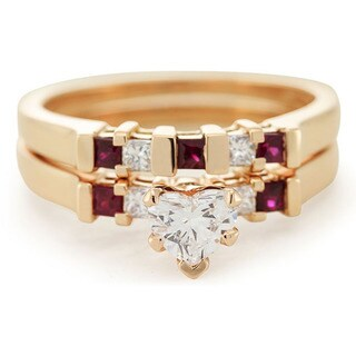 14k Rose Gold 3/4CTtw Heart-cut Diamond and Ruby Beautiful Bridal Ring Set by Fascinating Diamonds (G-H, SI1-SI2, GIA)