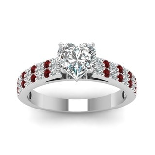 14k White Gold 5/8CTtw Heart-cut Diamond and Ruby Engagement Ring by Fascinating Diamonds (G-H, SI1-SI2, GIA)