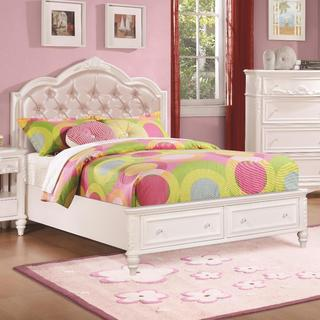 Cindy Deluxe White 4 Piece Platform Bedroom Set
