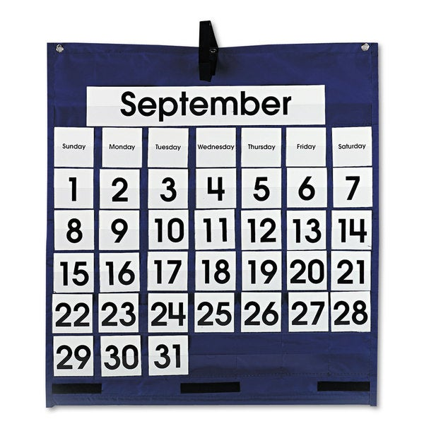 Carson-Dellosa Publishing Blue 25 x 28 1/2 Monthly Calendar 43-Pocket Chart