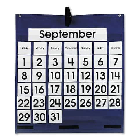 Carson-Dellosa Publishing Blue 25 x 28 1/2 Monthly Calendar 43-Pocket Chart