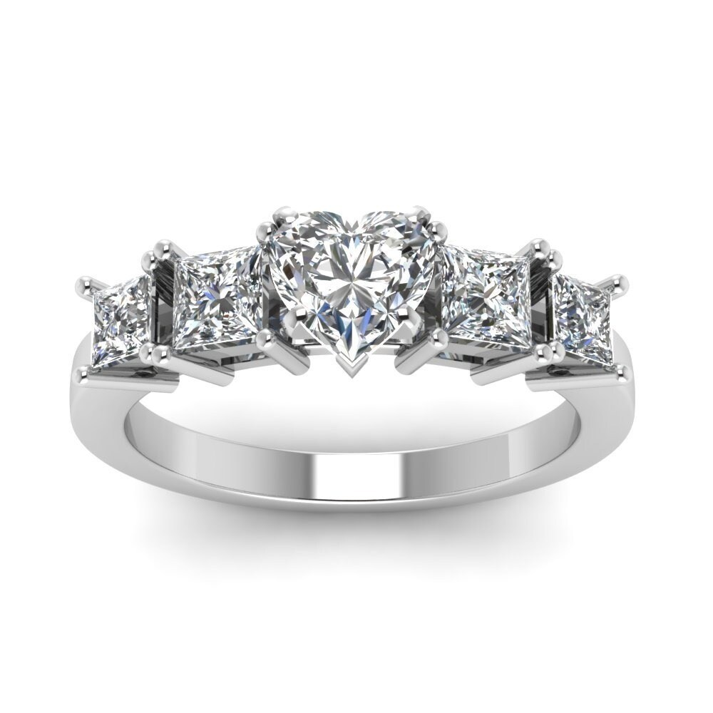 14k White Gold 1 1 4cttw Heart Shaped Diamond Engagement Rings By