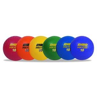 Champion Sports Assorted 10 inch Diameter Rhino Playground Ball Set (Set of 6)