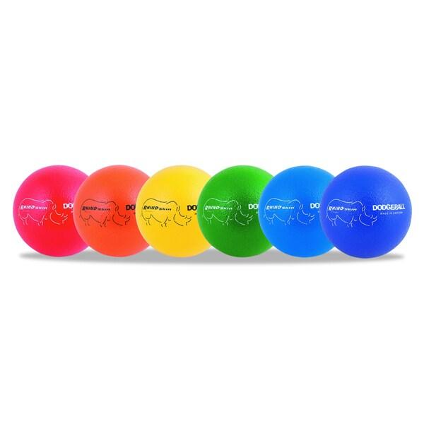 Champion Sports Assorted 6 inch Diameter Rhino Skin Dodge Ball Set (Set of 6)