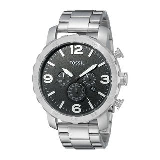 Fossil Men's Nate Chronograph Black Dial Silver-Tone Stainless Steel Bracelet Watch JR1353