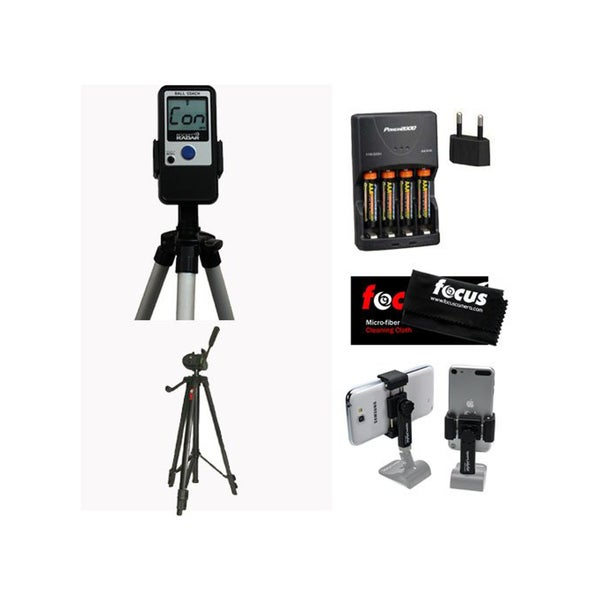 Pocket Radar Ball Coach/Pro-Level Speed Training Radar Gun + Focus 59-Inch Tripod + Smartphone Tripod Mount + Accessory Kit