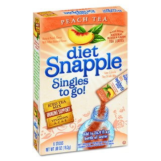 Snapple Diet Peach Tea Iced Tea Singles To-Go (Pack of 72 Sticks)