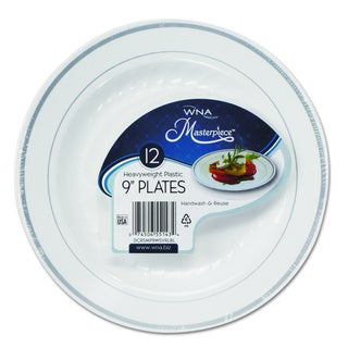 WNA Masterpiece White w/Silver Accents Plastic Plates (Pack of 120) (Option: Silver)