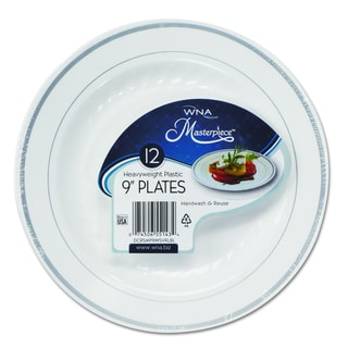 WNA Masterpiece White w/Silver Accents Plastic Plates (Pack of 120)