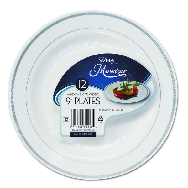 Shop WNA Masterpiece White w/Silver Accents Plastic Plates (Pack of ...