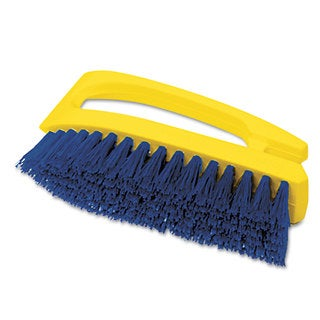 Rubbermaid Commercial Long Handle Yellow Plastic Handle/Blue Bristles Scrub Brush