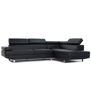 Modern Black Contemporary Bonded Leather Sectional Sofa