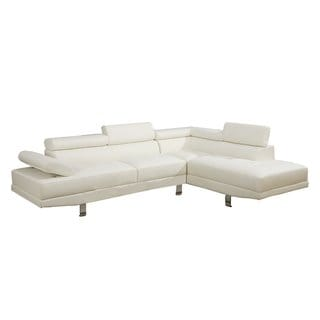 Modern White Contemporary Bonded Leather Sectional Sofa
