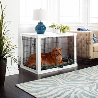 Merry Products White Wooden Pet Kennel with Crate Cover|https://ak1.ostkcdn.com/images/products/10400464/P17502735.jpg?impolicy=medium