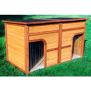 Wooden Flat Top Duplex Dog House