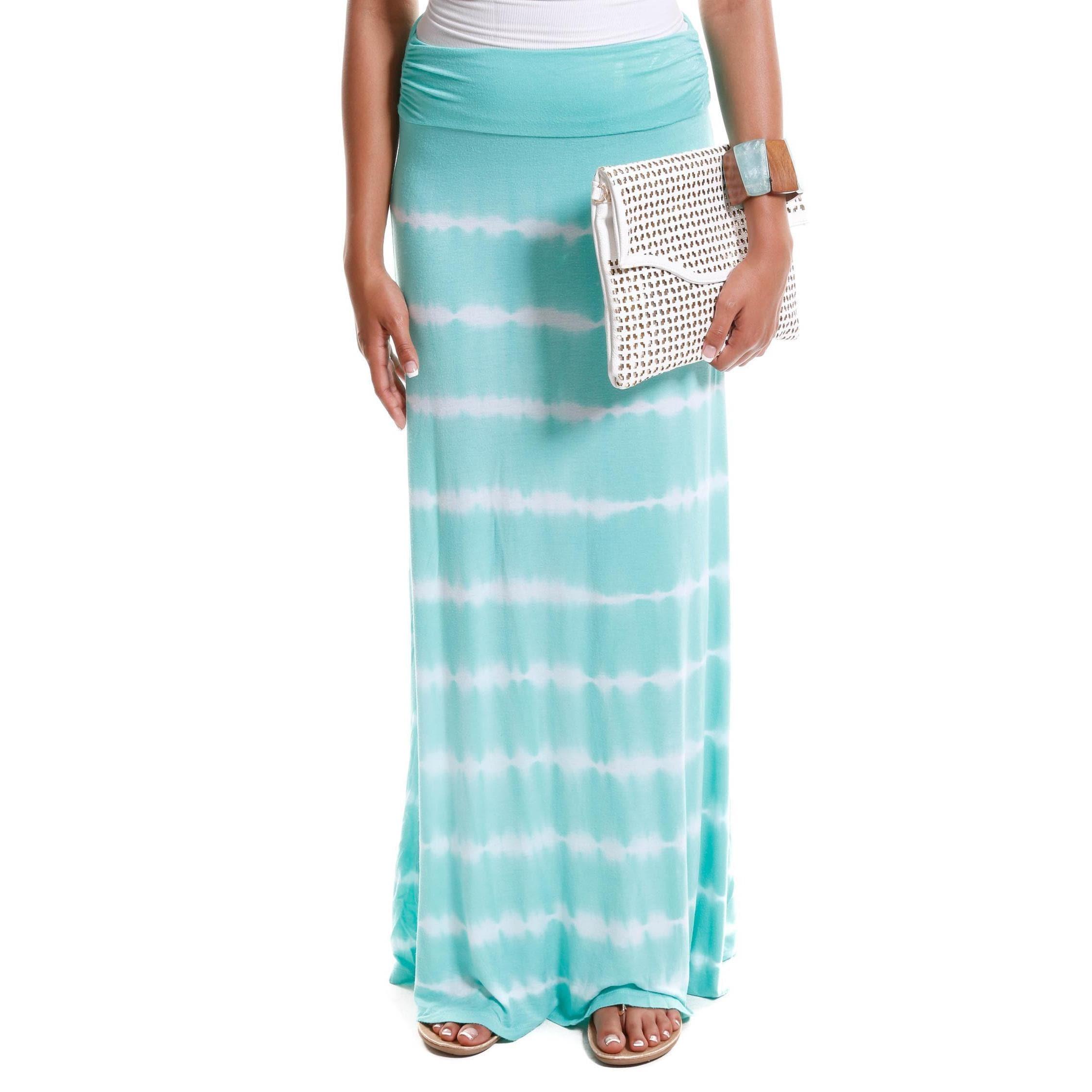 Hadari Women's Contemporary Tie-Dye Foldover Maxi Skirt (...