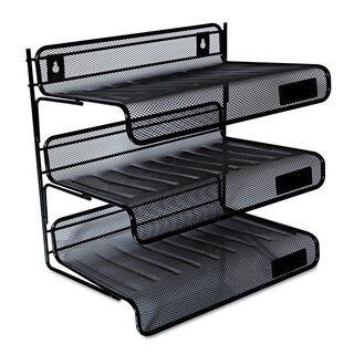 Universal One Black Mesh Three-Tier Desk Shelf (Pack of 2)