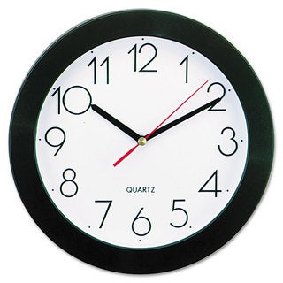 Universal Black Round Wall Clock (Pack of 2)