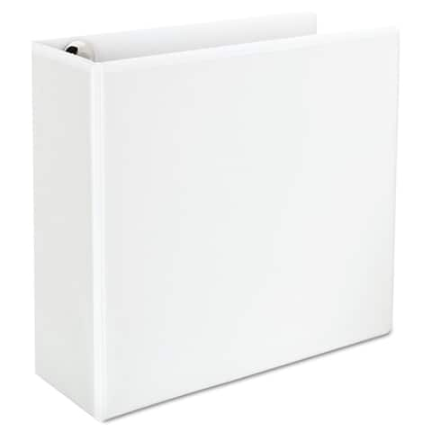 """Universal Deluxe D-Ring View Binder, 4"""" Capacity, 8 1/2 x 11, White"""