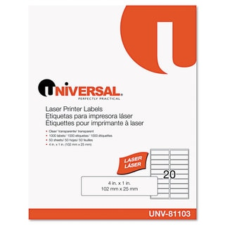 Universal One Clear Laser Printer Permanent Labels (Box of 1000)