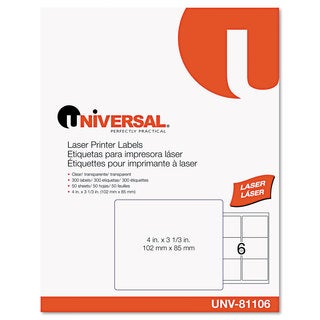 Universal One Clear Laser Printer Permanent Labels (Box of 300)