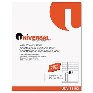 Universal One Clear Laser Printer Permanent Labels (Box of 1500)