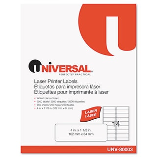 Universal White Laser Printer Permanent Labels (Box of 3500)