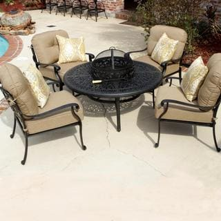 Rosedown 4-person Cast Aluminum Patio Deep Seating Set With Fire Pit Table And Ice Bucket Insert