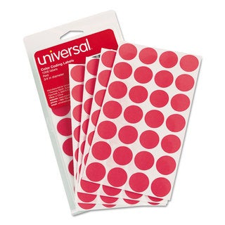Universal Red Permanent Self-Adhesive Color-Coding Labels (10 Packs of 1008)