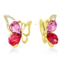Rose and Pink Crystal Butterfly Stud Earrings, Gold Over Brass, Pushbacks