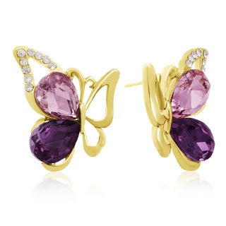 Amethyst Butterfly Stud Earrings, Gold Overlay, Pushbacks
