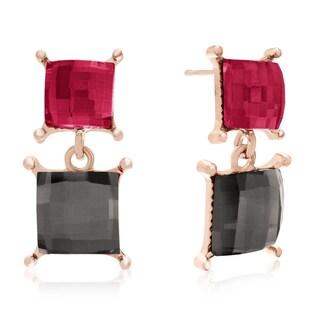 Marsala and Slate Dangle Earrings, Gold Overlay, Pushbacks