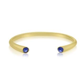 18K Yellow Gold Overlay Blue Crystal Bangle